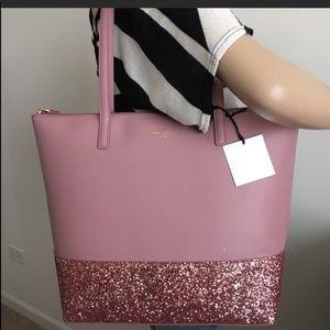 Kate spade pink glitter tote shoulder bag NEW